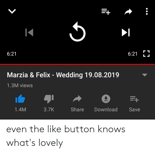 Wedding, Download, and Share: 6:21  L  6:21  Marzia & Felix - Wedding 19.08.2019  1.3M views  E+  Share  Download  1.4M  3.7K  Save even the like button knows what's lovely