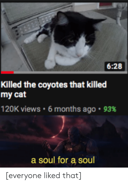 Cat, Soul, and For: 6:28  Killed the coyotes that killed  my cat  120K views . 6 months ago . 93%  a soul for a soul [everyone liked that]