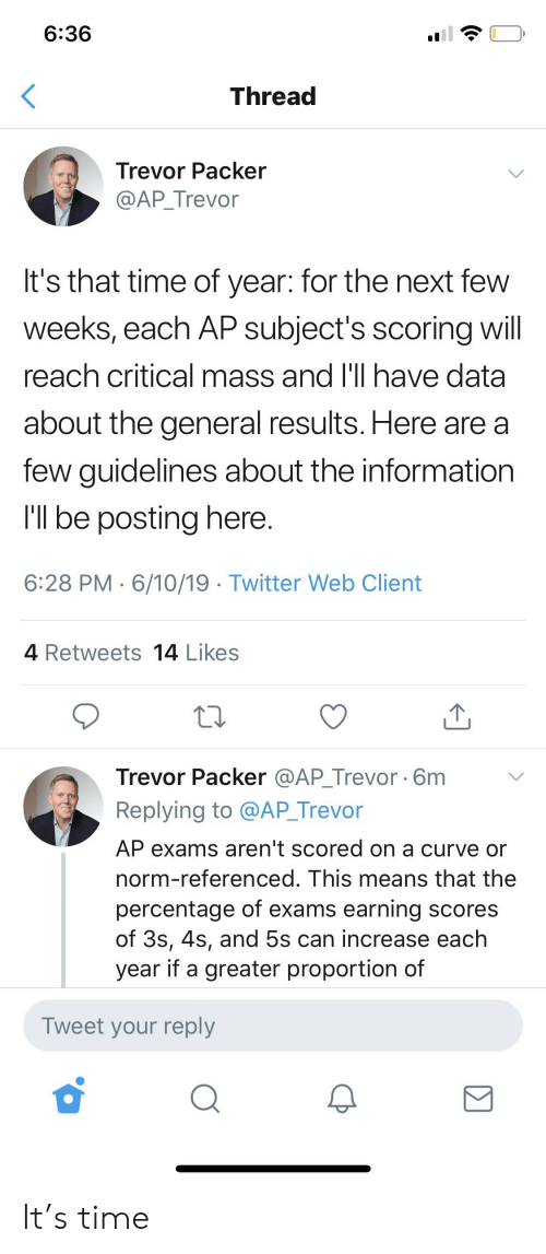 Curving, Twitter, and Information: 6:36  Thread  Trevor Packer  @AP_Trevor  It's that time of year: for the next few  weeks, each AP subject's scoring will  reach critical mass and I'll have data  about the general results. Here are a  few guidelines about the information  I'l be posting here.  6:28 PM 6/10/19 Twitter Web Client  4 Retweets 14 Likes  Trevor Packer @AP_Trevor 6m  Replying to @AP_Trevor  AP exams aren't scored on a curve or  norm-referenced. This means that the  percentage of exams earning scores  of 3s, 4s, and 5s can increase each  year if a greater proportion of  Tweet your reply It's time