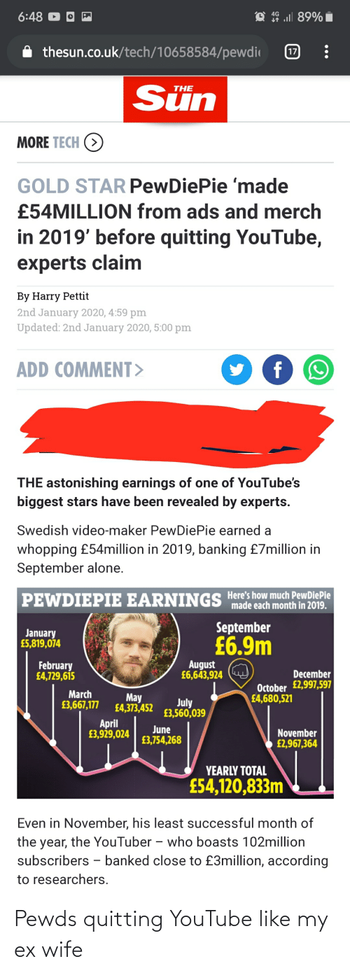 Being Alone, youtube.com, and Star: 6:48  4G  thesun.co.uk/tech/10658584/pewdi  17  Sün  THE  MORE TECH (>  GOLD STAR PewDiePie 'made  £54MILLION from ads and merch  in 2019' before quitting YouTube,  experts claim  By Harry Pettit  2nd January 2020, 4:59 pm  Updated: 2nd January 2020, 5:00 pm  ADD COMMENT>  THE astonishing earnings of one of YouTube's  biggest stars have been revealed by experts.  Swedish video-maker PewDiePie earned a  whopping £54million in 2019, banking £7million in  September alone.  PEWDIEPIE EARNINGS Here's how much PewDiePie  made each month in 2019.  September  January  £5,819,074  £6.9m  August  £6,643,924  February  £4,729,615  December  October £2,997,597  £4,680,521  March  May  £4,373,452  July  £3,560,039  £3,667,177  April  £3,929,024  June  £3,754,268  November  £2,967,364  YEARLY TOTAL  £54,120,833m  Even in November, his least successful month of  the year, the YouTuber -– who boasts 102million  subscribers - banked close to £3million, according  to researchers. Pewds quitting YouTube like my ex wife