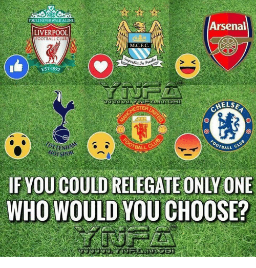 Arsenal, Club, and Football: 6 5890  OULL NEVER WALKALONE  Arsenal  LIVERPOOL  FOOTBALL CLUB  M.C.F.C  .2  EST 1892  S <  TER  CHELS  BALL C  OTBALL  IF YOU COULD RELEGATE ONLY ONE  WHO WOULD YOU CHOOSE?