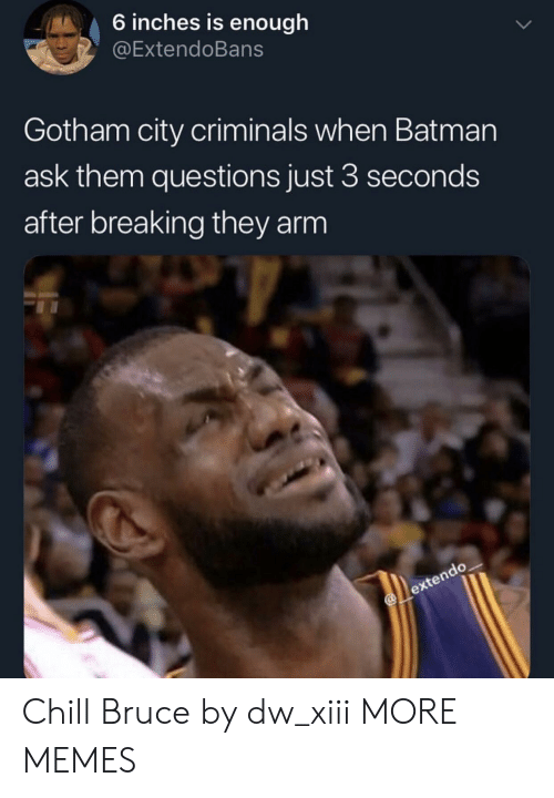Batman, Chill, and Dank: 6 inches is enough  @ExtendoBans  Gotham city criminals when Batman  ask them questions just 3 seconds  after breaking they arm Chill Bruce by dw_xiii MORE MEMES