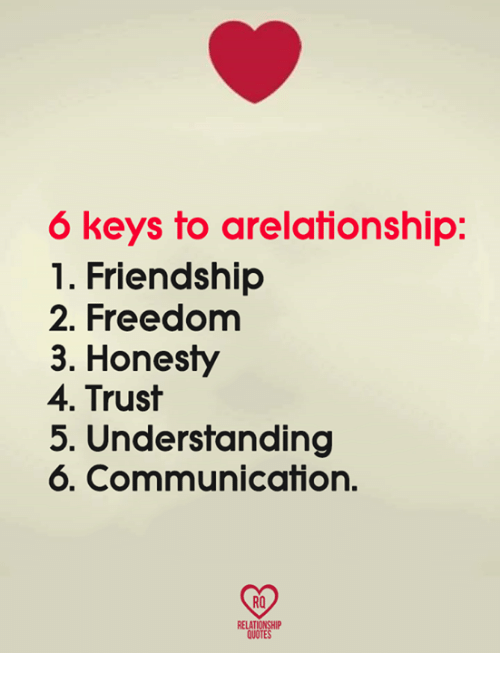 6 Keys to Arelationship 1 Friendship 2 Freedom 3 Honesty 4 Trust 5