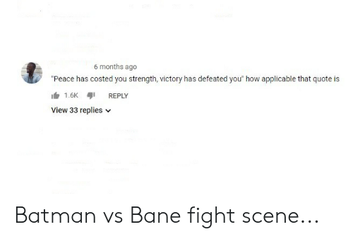 "Bane, Batman, and Peace: 6 months ago  ""Peace has costed you strength, victory has defeated you"" how applicable that quote is  1.6KREPLY  View 33 replies v Batman vs Bane fight scene..."