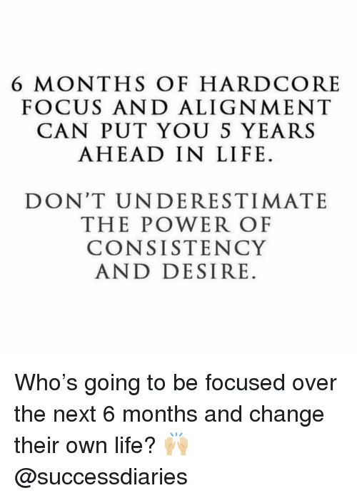 Life, Memes, and Focus: 6 MONTHS OF HARDCORE  FOCUS AND ALIGNMENT  CAN PUT YOU S YEARS  AHEAD IN LIFE.  DON'T UNDERESTIMATE  THE POWER OF  CONSISTENCY  AND DESIRE. Who's going to be focused over the next 6 months and change their own life? 🙌🏼 @successdiaries