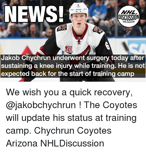 Memes, News, and National Hockey League (NHL): 6  NEWS!  NHL  OISCUSSION  GNHL DISCUSSION  20  Jakob Chychrun underwent surgery today after  sustaining a knee injury while training. He is not  expected back for the start of training camp We wish you a quick recovery, @jakobchychrun ! The Coyotes will update his status at training camp. Chychrun Coyotes Arizona NHLDiscussion