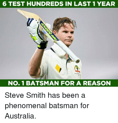 Memes, Phenomenal, and Steve Smith: 6 TEST HUNDREDSIN LAST 1 YEAR  NO. 1 BATSMAN FOR A REASON Steve Smith has been a phenomenal batsman for Australia.