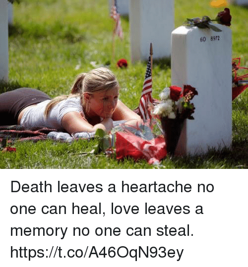 Love, Memes, and Death: 60 8972 Death leaves a heartache no one can heal, love leaves a memory no one can steal. https://t.co/A46OqN93ey
