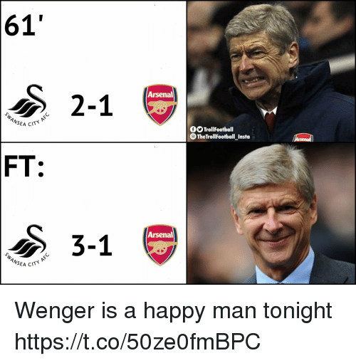 Arsenal, Football, and Memes: 61'  2-1  Arsenal  ANSEA  C  OO TrollFootball  TheTroll Football Insta  FT:  ク3-1  Arsenal  CITY AFC Wenger is a happy man tonight https://t.co/50ze0fmBPC
