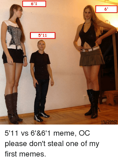 Dank Memes, Amp, and Ocs: 6'1  5'11  6' 5'11 vs 6'&6'1 meme, OC please don't steal one of my first memes.