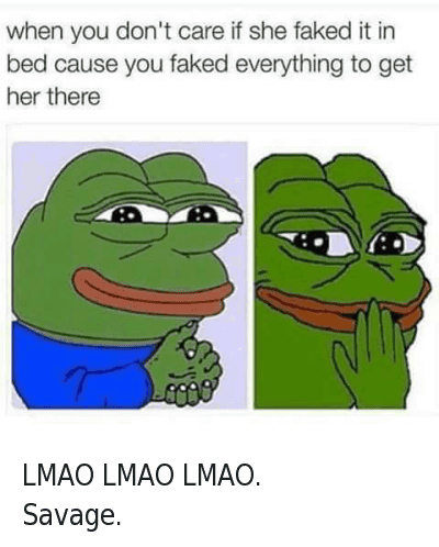 when you don't care if she faked it in bed cause you faked everything to get her there LMAO LMAO LMAO. -Savage.