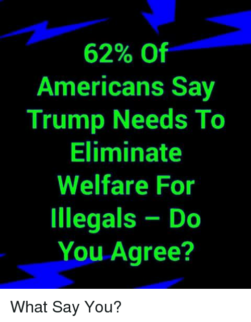 Memes, Trump, and 🤖: 62% Of  Americans Say  Trump Needs To  Eliminate  Welfare For  Illegals Do  You Agree? What Say You?