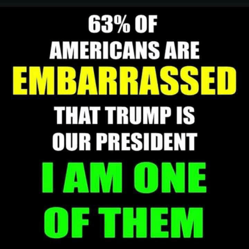 Trump, One, and President: 63% OF  AMERICANS ARE  EMBARRASSED  THAT TRUMP IS  OUR PRESIDENT  AM ONE  OF THEM