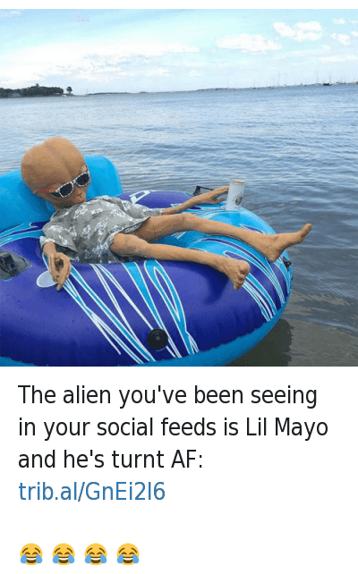The alien you've been seeing in your social feeds is Lil Mayo and he's turnt AF: -😂 😂 😂 😂 : Complex@ComplexMag  The alien you've been seeing in your social feeds is Lil Mayo and he's turnt AF: trib.al/GnEi26  😂 😂 😂 😂 The alien you've been seeing in your social feeds is Lil Mayo and he's turnt AF: -😂 😂 😂 😂