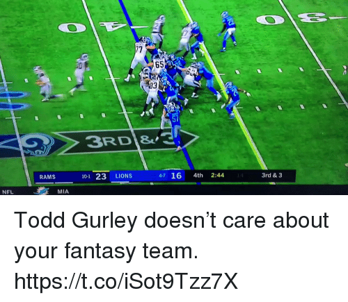 Memes, Nfl, and Lions: 65  93  ST  3RD  RAMS  101 23 LIONS  4-7 16 4th 2:44  3rd & 3  NFL  MIA Todd Gurley doesn't care about your fantasy team. https://t.co/iSot9Tzz7X