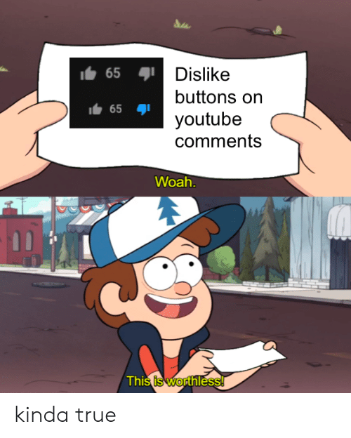 True, youtube.com, and Comments: 65  Dislike  buttons on  65  youtube  comments  Woah  This is worthless! kinda true