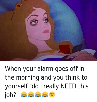 "When your alarm goes off in the morning and you think to yourself ""do I really NEED this job?"" 😂😂😂😂😒 : When your alarm goes off in the morning and you think to yourself ""do I really NEED this job?"" 😂😂😂😂😒 When your alarm goes off in the morning and you think to yourself ""do I really NEED this job?"" 😂😂😂😂😒"