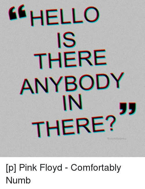 """fae597063295 Comfortable, Hello, and Pink Floyd: 66 HELLO IS THERE ANYBODY IN"""" THERE"""
