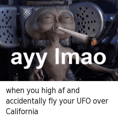 when you high af and accidentally fly your UFO over California : when you high af and accidentally fly your UFO over California   ayy lmao when you high af and accidentally fly your UFO over California