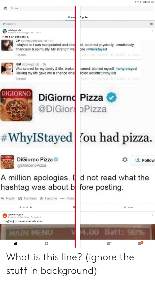 Family, Life, and Pizza: 67%2:25 am  Q Search  Home  Popular  BEST POSTS  r/Cringetopia  Posted by u/PoonSwoggle 8h i.redd.it  Here's an old classic.  CPtnegoadesscher sn  I stayed bc i was manipulated and dec ed, battered physically, emotionally,  financially & spiritually. My strength wa ne #whyistayed  Reply Re  More  Expand  Kat @Skeptikat 3h  Was scared for my family & life, broke  Risking my life gave me a chance whe  hamed, blamed myself #whyistayed  icide wouldn't #whyileft  n Mo  Expand  DIGIORNO DiGiorno Pizza  @DiGior bPizza  #WhyIStayed   fou had pizza.  DIGIORNO  DiGiorno Pizza  Follow  @DiGiornoPizza  A million apologies. d not read what the  hashtag was about b fore posting.  Reply Retweet Favorite  ...More  11.3k  Share  r/softwaregore  Posted by u/InfinityOwns 7h-i.redd.it  It's going to die any minute now  V 4.00 Batt: 98%  MAIN MENU  II What is this line? (ignore the stuff in background)
