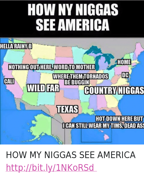 America, Ass, and Funny: HOW MY NIGGAS SEE AMERICA   HELLA RAINY B  NOTHING OUT HERE, WORD TO MOTHER  HOME  DC  CALI  WILD FAR  WHERE THEM TORNADOS BE BUGGIN  COUNTRY NIGGAS  TEXAS  HOT DOWN HERE BUT I CAN STILL WEAR MY TIMS, DEAD ASS HOW MY NIGGAS SEE AMERICA