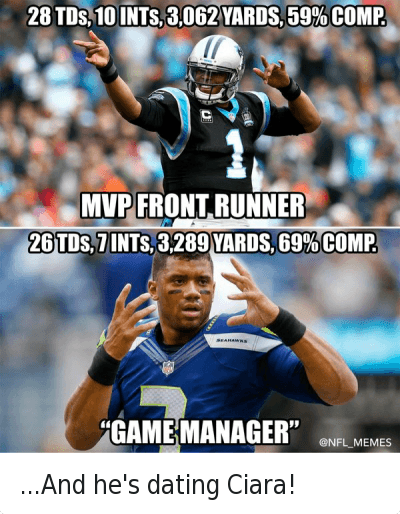 """Cam Newton, Carolina Panthers, and Ciara: @NFL_Memes  28 TDs, 10 INTs, 3,062 yards, 59% comp.  MVP front runner  26 TDs, 7 INTs, 3,289 yards, 69% comp.  """"game manager"""" ...And he's dating Ciara!"""