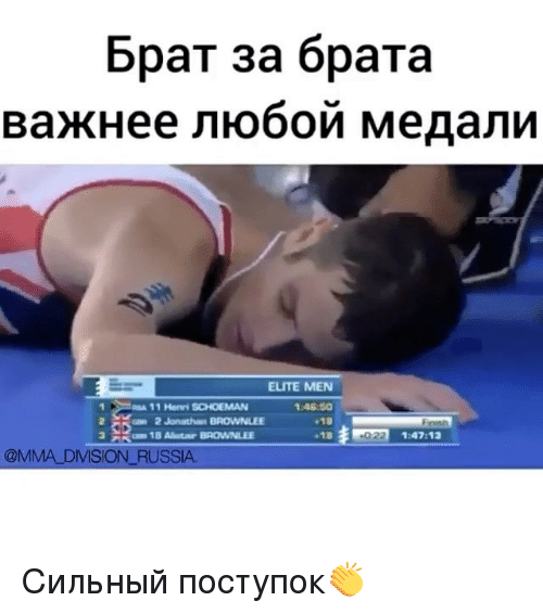 Memes, 🤖, and Henry: 6paT 3a 6paTa  ELITE MEN  11 Henri SCHOEMAN  2 2 Jonathan BROWNLEE  1:47:12  @MMA DMISION RUSSIA Сильный поступок👏