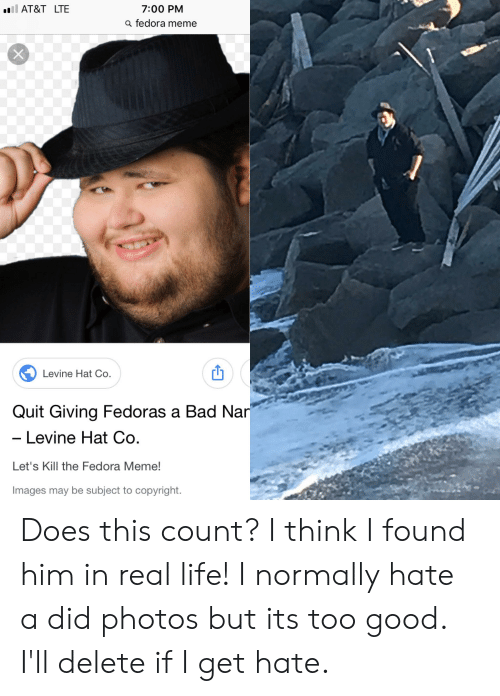 700 PM a Fedora Meme AT T LTE Levine Hat Co Quit Giving Fedoras a ... 8a3f7bbef4e