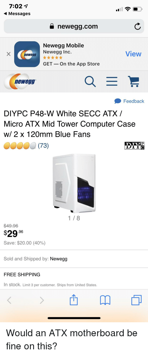 App Store, Blue, and Computer: 7:02 1 4 Messages i newegg