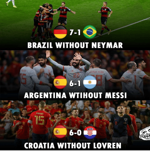 Memes, Neymar, and Argentina: 7-1  BRAZIL WITHOUT NEYMAR  ADI RLBR  6-1  ARGENTINA WTIHOUT MESS  AMOS  CROATIA WITHOUT LOVREN