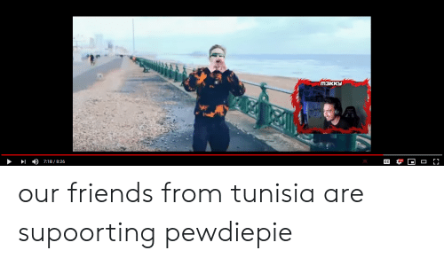Friends, Tunisia, and Pewdiepie: )  7:18 / 8:26 our friends from tunisia are supoorting pewdiepie
