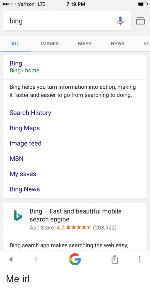 Go To Bing Commicrosoft Com: 719 PM Ooo Verizon LTE Bing ALL MAPS NEWS IMAGES Bing Bing