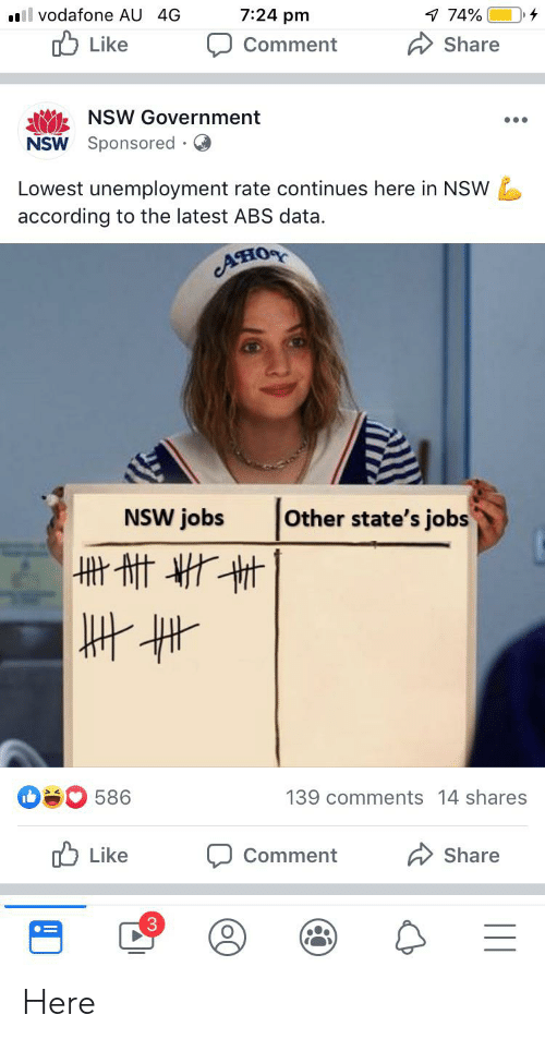 Jobs, Government, and According: 7:24 pm  7 74%  ll vodafone AU 4G  Like  Share  Comment  NSW Government  NSW Sponsored  Lowest unemployment rate continues here in NSW  according to the latest ABS data  ACIOR  Other state's jobs  NSW jobs  586  139 comments 14 shares  Like  Share  Comment  3 Here