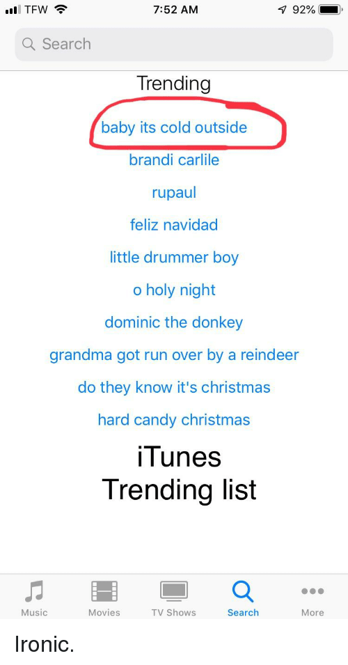 752 am a search trending baby its cold outside brandi carlile rupaul feliz navidad little drummer boy o holy night dominic the donkey grandma got run over