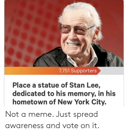 Meme, New York, and Stan: 7,751 Supporters  Place a statue of Stan Lee,  dedicated to his memory, in his  hometown of New York City. Not a meme. Just spread awareness and vote on it.