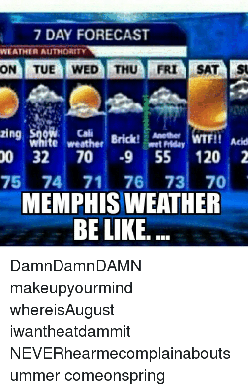 Be Like Friday And Memes 7 Day Forecast We Ather Authority On Tue