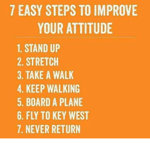 Memes, Attitude, and Never: 7 EASY STEPS TO IMPROVE  YOUR ATTITUDE  1. STAND UP  2. STRETCH  3. TAKE A WALK  4. KEEP WALKING  5. BOARD A PLANE  6. FLY TO KEY WEST  7. NEVER RETURN