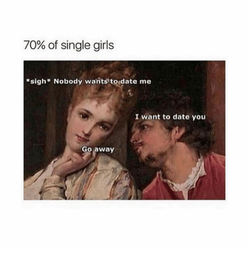 Girls, Date, and Girl Memes: 70% of single girls  *sigh Nobody wants todate me  I want to date you  Go away