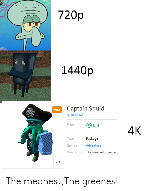 720p 1440p Captain Squid by ROBLOX New 650 4K Price Type Package