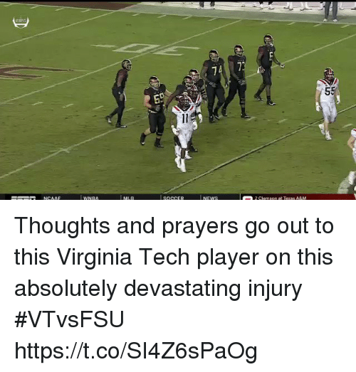 Sports, Virginia Tech, and Virginia: 74 7 Thoughts and prayers go out to this Virginia Tech player on this absolutely devastating injury #VTvsFSU https://t.co/SI4Z6sPaOg