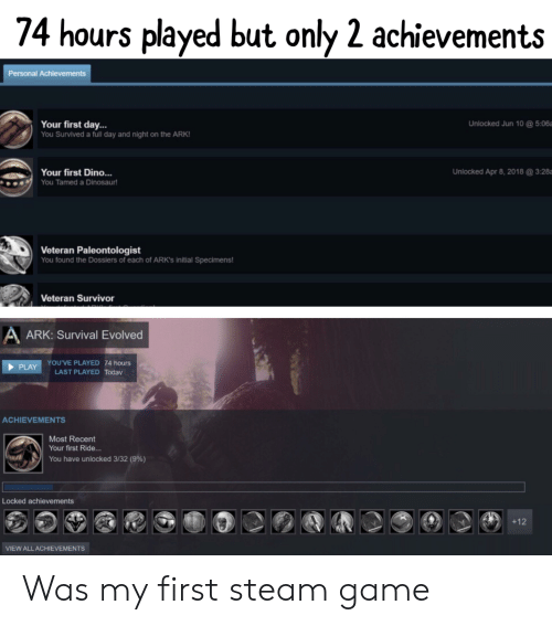 74 Hours Played but Only 2 Achievements Personal