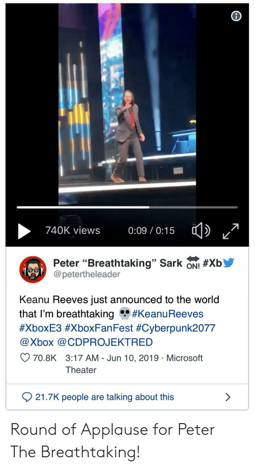 740K Views 009 015 Peter Breathtaking Sark ON! #Xb Keanu Reeves Just