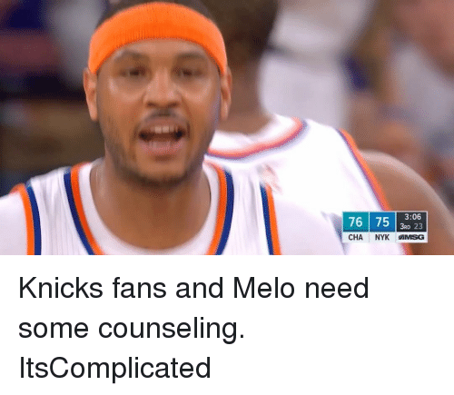 Sports, Cha, and Melo: 76 75  3RD 23  3:06  CHA.  NYK MMSG Knicks fans and Melo need some counseling. ItsComplicated