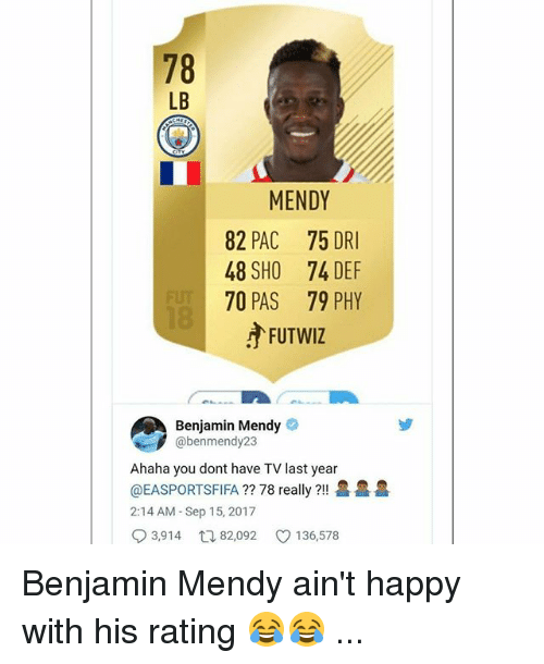 Memes, Happy, and 🤖: 78  LB  MENDY  82 PAC 75 DRI  48 SHO 74 DEF  70 PAS 79 PHY  广FUTWIZ  Benjamin Mendy  @benmendy23  Ahaha you dont have TV last year  @EASPORTSFIFA ?? 78 really ?!!  2:14 AM- Sep 15, 2017  93,914ロ82,092 136,578  욜 욜 욜 Benjamin Mendy ain't happy with his rating 😂😂 ...