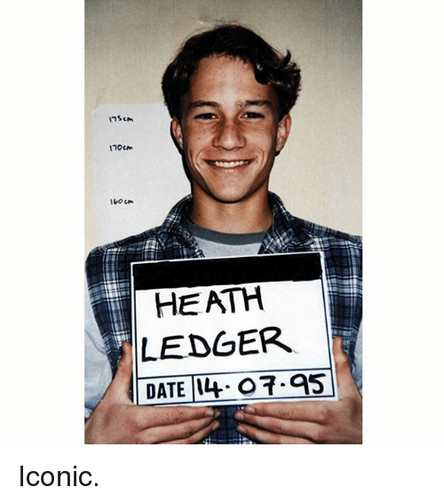 Memes, Heath Ledger, and Iconic: 7Scm  160cm  HEATH  LEDGER  DATE14 O.95 Iconic.