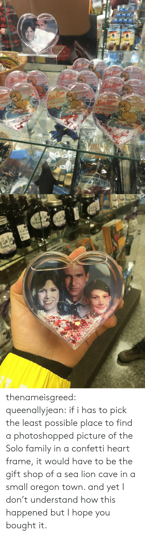 Family, Tumblr, and Blog: 7t  Her thenameisgreed:  queenallyjean: if i has to pick the least possible place to find a photoshopped picture of the Solo family in a confetti heart frame, it would have to be the gift shop of a sea lion cave in a small oregon town. and yet I don't understand how this happened but I hope you bought it.