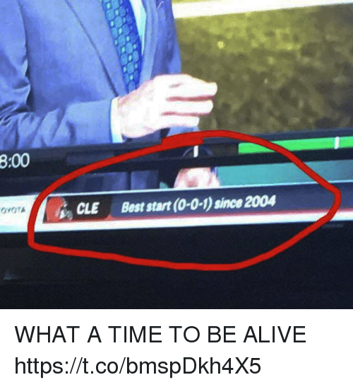 Alive, Football, and Nfl: 8:00  CLE Best start (0-0-1) since 2004 WHAT A TIME TO BE ALIVE https://t.co/bmspDkh4X5