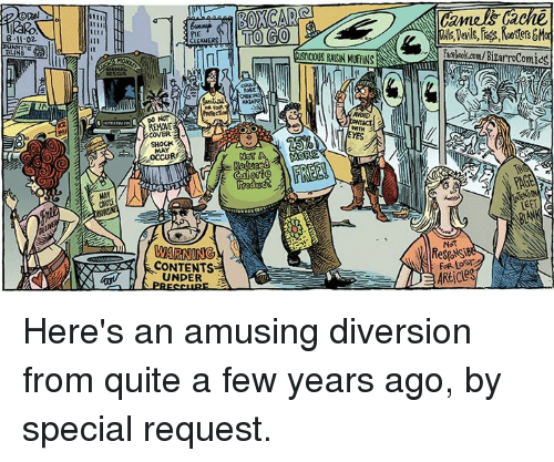 Memes, Quite, and 🤖: 8.11.02  LING  PIE  CLEANERS  COVER  WARNING  CONTENTS  UNDER  BOXOCAR  TO GO  GUSIUOUS RASN MUFFINS  NOSE  WTH  NOT A MORE  tentokamu Bizarrocomicg  NOT  FOR LOSTe  ARticle Here's an amusing diversion from quite a few years ago, by special request.