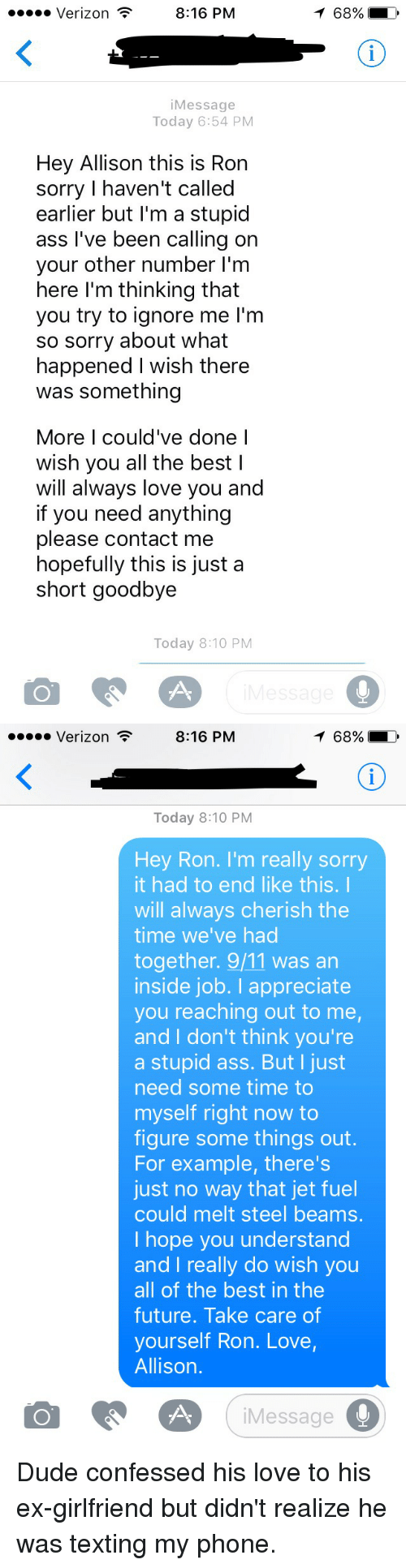 816 PM Verizon Message Today 654 PM Hey Allison This Is Ron Sorry I