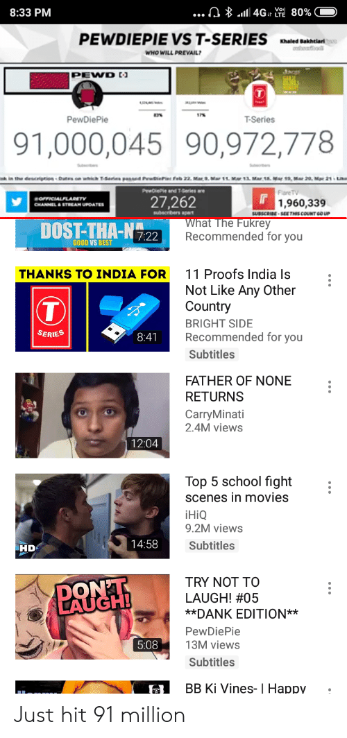 """Dank, Movies, and School: 8:33 PM  PEWDIEPIE VS T-SERIES aied Bakbeiant  WHO WILL PREVAIL  7%  PewDiePie  T-Series  91,000,045 90,972,778  nk  the deocription·Dates on which T-Serie. Pan""""ed PvwOlePier reb 22. Mat 9. Mar 11. Mar 13. Mar sa. Mar 19, Mar 20, Mar 21 .Un  1  PewDlePie and T-Series are  Flare TV  27,262  1,960,339  CHANNEL&STREAM UPOATES  SUBSCRIBE-SEE THİS COUNT GOUP  DOST-THA-N72  What The Fukrey  Recommended for you  GOOD VS BES  11 Proofs India Is  Not Like Any Other'  Country  BRIGHT SIDE  Recommended for you  Subtitles  THANKS TO INDIA FOR  SERIES  8:41  FATHER OF NONE :  RETURNS  CarryMinati  2.4M views  12:04  Top 5 school fight :  scenes in movies  iHiQ  9.2M views  Subtitles  14:58  HD  TRY NOT TO  LAUGH! #05  **DANK EDITION**  PewDiePie  13M views  Subtitles  DONT  LAUGH  5:08  BB Ki Vines- I Happy Just hit 91 million"""